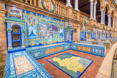 The tiles of the Spain Square. Spain Square (Plaza de Espana), Seville, Spain, built in 1928, it is one example of the Regionalism Architecture mixing Stock Image