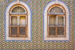 Tiles of a typical house in Lisbon royalty free stock photo