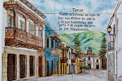 Tiles with the view of a beautiful old town of Teror, Gran Canaria, Spain stock photos