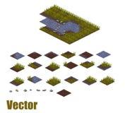 Tilesets del fiume di arte del pixel Acqua, erba e terra Immagini Stock