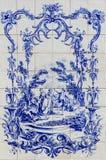 Tilework cerâmico lata-vitrificado pintado à mão tradicional português, fotografia de stock
