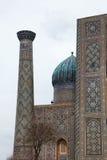 Tilework splendor. Building of registan square in samarkand, uzbekistan stock photos