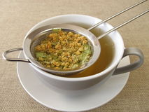 Tilia flowers tea in tea strainer Stock Photo