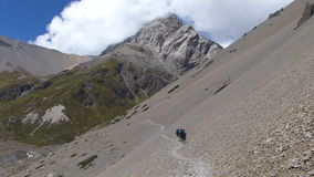 Tilicho base camp panorama. Annapurna Circuit trek in Nepal - View to Annapurna range from Tilicho base camp stock footage