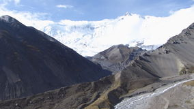 Tilicho base camp panorama. Annapurna Circuit trek in Nepal - View to Annapurna range from Tilicho base camp stock video footage