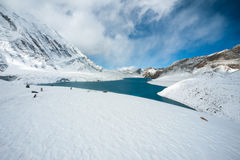 Tilicho lake in the Annapurna range of the Himalayas. Tilicho lake ( 4,919 m above sea level ) in the Annapurna range of the Himalayas, Nepal Stock Image