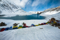 Tilicho lake in the Annapurna range of the Himalayas Royalty Free Stock Image