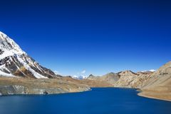 Tilicho Lake. Nepal, Annapurna circuit trek. Tilicho Lake. Himalaya mountains in Nepal, Annapurna circuit trek stock image