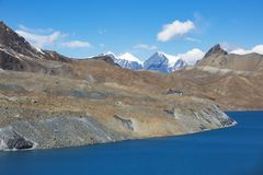 Tilicho Lake. Nepal, Annapurna circuit trek. Tilicho Lake. Himalaya mountains in Nepal, Annapurna circuit trek stock photo