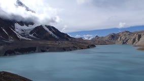 Tilicho lake panorama. Annapurna Circuit trek in Nepal - View to Annapurna range from Tilicho lake stock video footage