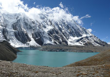 Tilicho Lake. Tilicho  lake and Tilicho peak in Nepal Stock Image