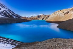 Tilicho Lake on the Annapurna Circuit. stock images