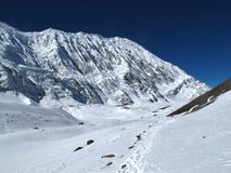 Tilicho Peak and foot-path Stock Photography
