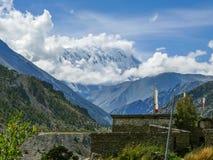 Tilicho peak from Manang, Nepal Stock Photo