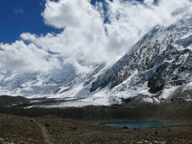 Tilicho peak from Tilicho lake, Nepal Royalty Free Stock Image
