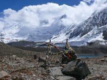 Tilicho peak from Tilicho lake, Nepal Royalty Free Stock Photography