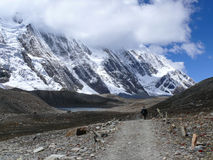 Tilicho peak and way to Tilicho lake from base camp, Nepal Royalty Free Stock Photo