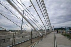 Tilikum横穿,桥梁风景在波特兰 免版税库存照片