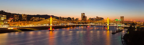 Tilikum Crossing with Portland Skyline Panorama Royalty Free Stock Photo