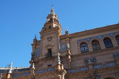 Tiling в Площади de Espana в Севилье был построен для Exposicion 1929 Ibero-Американа Стоковые Фото