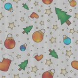 Tiling knitting texture with colorful christmas baubles Stock Image