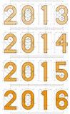 2013 till 2016 år teknisk projektdesign Arkivbild
