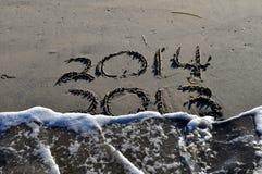 2013 till 2014 i sanden Arkivbilder