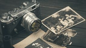 Till life with retro soviet photo camera FED-2 royalty free stock image