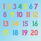 1 till 20 nummernumerics i olika färger för barn Arkivbilder