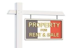 Till salu egenskap och hyra i det Frankrike begreppet Real Estate undertecknar, Fotografering för Bildbyråer
