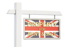 Till salu egenskap och hyra i UK-begrepp Real Estate undertecknar, 3D r Royaltyfri Illustrationer