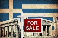Till salu Grungeflagga av Grekland Arkivbild