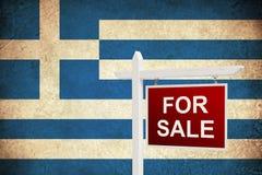 Till salu Grungeflagga av Grekland Royaltyfria Bilder