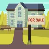 Till salu kulör bakgrund för hus royaltyfri illustrationer
