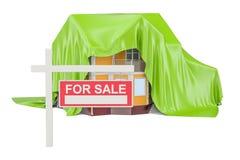 Till salu Real Estate begrepp, tolkning 3D Stock Illustrationer