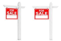 Till salu Real Estate tecken framförande 3d Arkivbilder