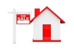 Till salu Real Estate tecken med det enkla huset framförande 3d Arkivfoto