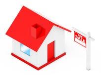 Till salu Real Estate tecken med det enkla huset framförande 3d Royaltyfri Illustrationer