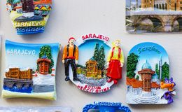 Till salu Sarajevo souvenir Royaltyfri Foto