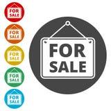 Till salu symbol, till salu tecken stock illustrationer