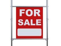 Till salu tecken som hänger med metallröret Arkivfoto