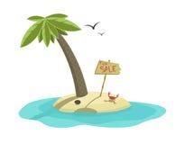 Till salu vektorillustration av den tropiska ön Royaltyfri Fotografi