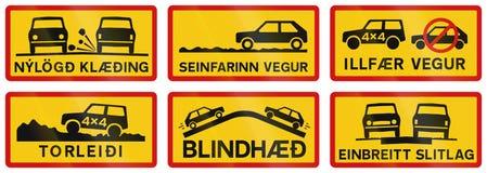 Tillagda vägmärken i Island Royaltyfria Bilder