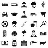 Tillage icons set, simple style. Tillage icons set. Simple set of 25 tillage vector icons for web isolated on white background Stock Photos