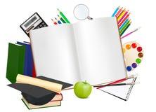 tillbaka anteckningsbokskolatillförsel till stock illustrationer