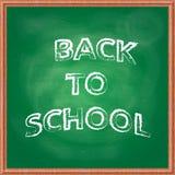tillbaka bakgrundsskola till Grön svart tavlasvart tavla med kritaspår och träramen arkivbild