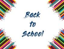 tillbaka bakgrundsskola till kulöra blyertspennor Royaltyfri Foto