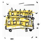 tillbaka begreppsskola till Gulligt skissa av skolbussen på anteckningsboksidan Arkivbilder