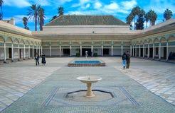 Tillbaka borggård av Bahia Palace, Marrakech Royaltyfria Foton