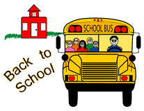 tillbaka bussskola till Royaltyfria Foton